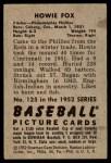1952 Bowman #125  Howard Fox  Back Thumbnail