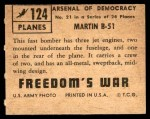 1950 Topps Freedoms War #124   Martin B-51 Back Thumbnail