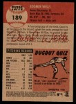 2002 Topps Heritage #189  David Wells  Back Thumbnail