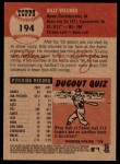 2002 Topps Heritage #194  Billy Wagner  Back Thumbnail