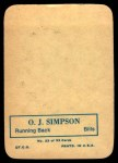 1970 Topps Super Glossy #22  O.J. Simpson  Back Thumbnail