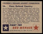 1951 Bowman Red Menace #26   Finns Defend Country Back Thumbnail
