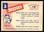 1959 Fleer Three Stooges #87   Nobody Leave the Room  Back Thumbnail