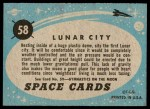 1957 Topps Space #58   Lunar City  Back Thumbnail