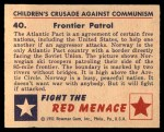1951 Bowman Red Menace #40   Frontier Patrol Back Thumbnail