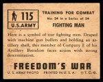 1950 Topps Freedoms War #115   Fighting Man  Back Thumbnail