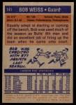 1972 Topps #141  Bob Weiss  Back Thumbnail