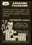 1966 Topps Batman -  Riddler Back #22   Awesome Foursome Back Thumbnail