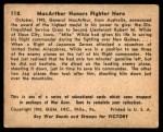 1941 Gum Inc. War Gum #118   Macarthur Honors Fighter Hero Back Thumbnail