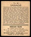1947 Goudey Indian Gum #96   Sassacus Back Thumbnail