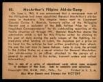 1941 Gum Inc. War Gum #80   Macarthur's Filipino Aid-De-Camp Back Thumbnail