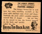 1950 Topps Bring Em Back Alive #20   The Lioness Springs Back Thumbnail