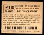 1950 Topps Freedoms War #118   P-61 Black Widow Back Thumbnail