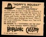 1950 Topps Hopalong Cassidy #60   Protect California Back Thumbnail