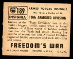 1950 Topps Freedoms War #189   10th Armored Div.  Back Thumbnail
