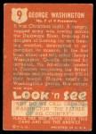 1952 Topps Look 'N See #9  George Washington  Back Thumbnail