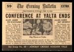 1954 Topps Scoop #59 xCOA  Big 3 Meet At Yalta  Back Thumbnail