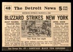 1954 Topps Scoop #48   Blizzard Sweeps New York Back Thumbnail