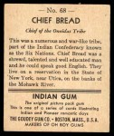 1947 Goudey Indian Gum #68   Chief Bread Back Thumbnail
