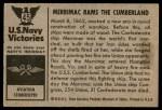 1954 Bowman U.S. Navy Victories #45   Merrimac Rams the Cumberland Back Thumbnail
