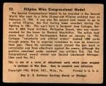 1941 Gum Inc. War Gum #52   Filipino Wins Congressional Medal Back Thumbnail