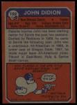 1973 Topps #192  John Didion  Back Thumbnail