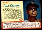 1962 Post Cereal #167  Curt Simmons   Front Thumbnail