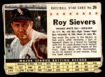 1961 Post Cereal #26 BOX Roy Sievers   Front Thumbnail