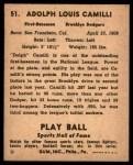 1941 Play Ball #51  Dolph Camili  Back Thumbnail