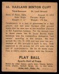 1941 Play Ball #66  Harland Clift  Back Thumbnail