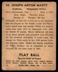 1941 Play Ball #28  Joe Marty  Back Thumbnail