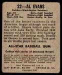 1948 Leaf #22  Al Evans  Back Thumbnail