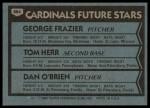 1980 Topps #684   -  Tom Herr / George Frazier / Dan O'Brien  Cardinals Rookies Back Thumbnail