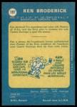 1969 O-Pee-Chee #197  Ken Broderick  Back Thumbnail