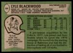1978 Topps #89  Lyle Blackwood  Back Thumbnail