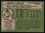 1978 Topps #463  Henry Childs  Back Thumbnail