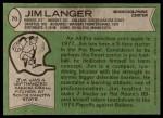 1978 Topps #70  Jim Langer  Back Thumbnail