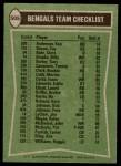 1978 Topps #505   -  Pete Johnson / Billy Brooks / Lemar Parrish / Reggie Williams / Gary Burley Bengals Leaders & Checklist Back Thumbnail