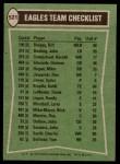 1978 Topps #521   Eagles Leaders Checklist Back Thumbnail