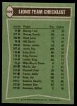 1978 Topps #509   -  Horace King / David Hill / James Hunter / Ken Sanders Lions Leaders & Checklist Back Thumbnail