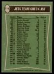 1978 Topps #519   Jets Leaders Checklist Back Thumbnail