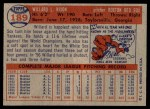 1957 Topps #189  Willard Nixon  Back Thumbnail