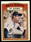 1972 Topps #34   -  Billy Martin In Action Front Thumbnail