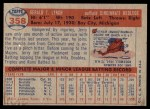 1957 Topps #358  Jerry Lynch  Back Thumbnail