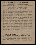 1939 Play Ball #11  Johnny Rizzo  Back Thumbnail