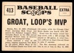 1961 Nu-Card Scoops #413   -   Dick Groat  Groat, NL Bat King, Named Loop's MVP Back Thumbnail