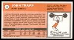 1970 Topps #12  John Trapp   Back Thumbnail