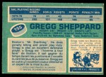 1976 O-Pee-Chee NHL #155  Gregg Sheppard  Back Thumbnail