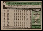 1979 Topps #215  Willie McCovey  Back Thumbnail