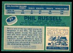 1976 O-Pee-Chee NHL #31  Phil Russell  Back Thumbnail